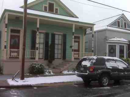 Snow Falls In NOLA! After slipping and falling on the icy side walk I took this picture of my house.
